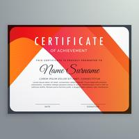 modern orange certificate of achievement template design