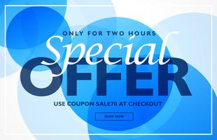 special offer banner design template with blue circles backgroun