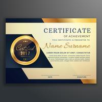 premium luxe certificaat van prestatie vector ontwerp
