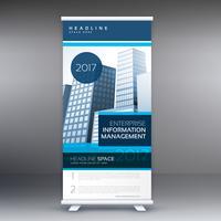 blaues aufrollbares Stand-Design mit Details für Business-Präsentationen