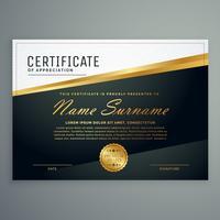 premium certificaatontwerp met gouden streep