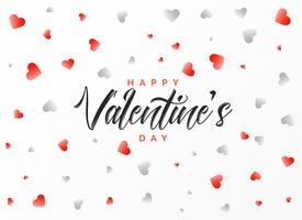 happy valentine's day greeting design with scattered red and gra