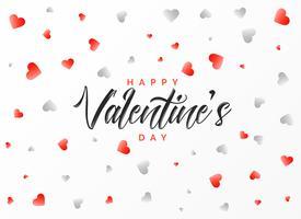 Happy Valentijnsdag groet ontwerp met verspreide rode en gra