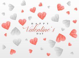 Skizzieren Sie Herzmusterhintergrund für Valentinstag