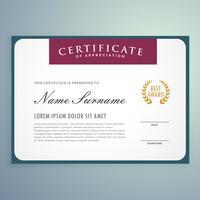 conception de modèle de certificat de vecteur propre