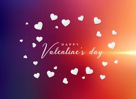 vibrierender Valentinstaggrußhintergrund mit zerstreutem Weiß