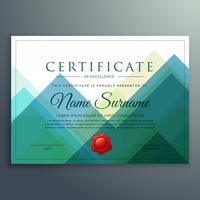 diseño de plantilla de vector de certificado de horizonte abstracto