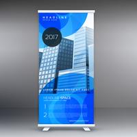 stylish blue roll up banner template design for business present