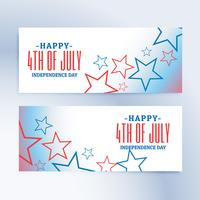 glada 4 juli självständighetsdag banners och rubriker