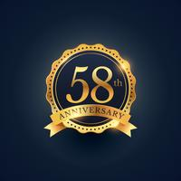 58th anniversary celebration badge label in golden color