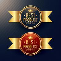 bästa produkt gyllene etikett och märke uppsättning med krona symbol