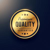 etiqueta de qualidade premium e design de crachá na cor dourada