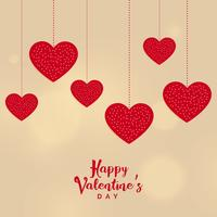 happy valentine's day hanging hearts background