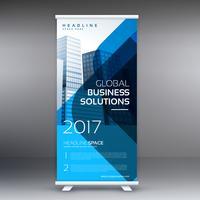 Blå rulla upp banner design mall