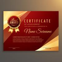 erstklassiger roter Zertifikat- und Diplomschablonendesignvektor