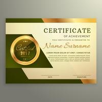 premium luxe certificaat van prestatie in gouden stijl