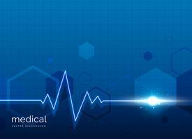 Fondo médico de salud con línea de latido