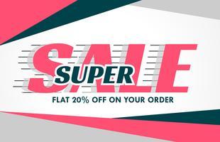 Venta promocional diseño de banner en forma geométrica rosa.