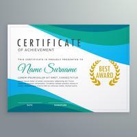 certificado de onda azul abstrata de design de modelo de realização