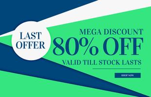 flat color sale banner design with geometric shape