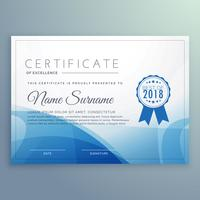 blue certificate template design vector