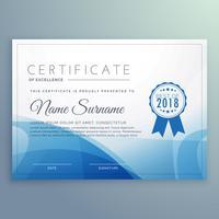 blauwe certificaatsjabloon ontwerp vector