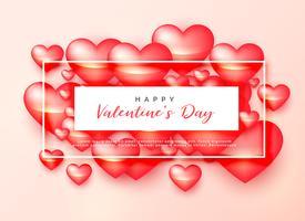 glanzende 3d harten voor de dag van de gelukkige Valentijnskaart