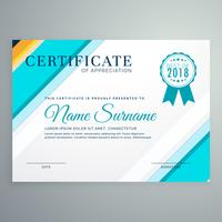 modern certificate template with blue lines