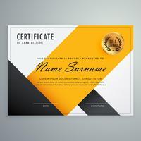 moderne gele en zwarte certificaatsjabloon ontwerp