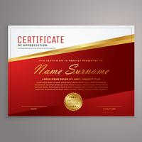 modelo de design de certificado criativo de vermelho e dourado