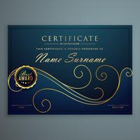 Kreatives blaues Premium-Zertifikatdesign mit goldenem Blumenmuster