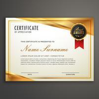 golden certificate template design vector