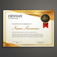 golden certificate template design vector