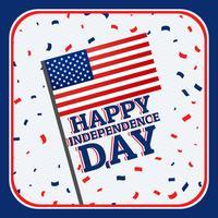 felice giorno dell'indipendenza sfondo con coriandoli