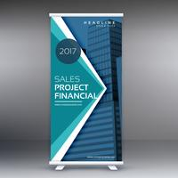 blue standee roll up banner design with geometric shapes