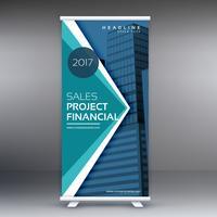 blauwe staande banner oprollen ontwerp met geometrische vormen