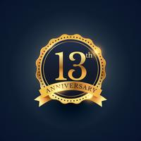 13th anniversary celebration badge label in golden color