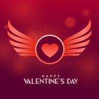 Valentinstag-Vektor-Design mit Flügeln und Herzen