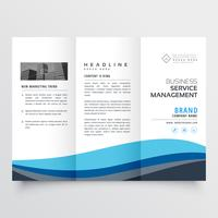 modern trifold leaflet brochure design in blue wave shape