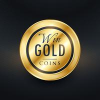 win gold coins label symbol design