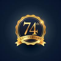 74th anniversary celebration badge label in golden color