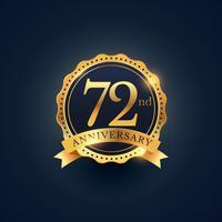 Etiquette insigne de célébration du 72e anniversaire en couleur dorée