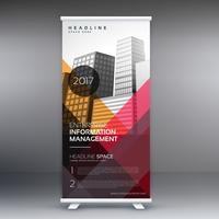 roll up banner presentation template with colorful abstract shap