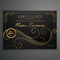 design de modelo de certificado premium preto e dourado