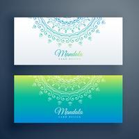 eleganta konstnärliga mandala banners uppsättning