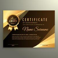 certificado de diploma de ouro com o símbolo de prêmio