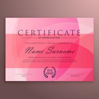 Diploma de rosa moderno diseño certificado con forma limpia vector