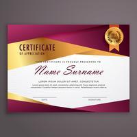 projeto de vetor de modelo de certificado de luxo geométrica