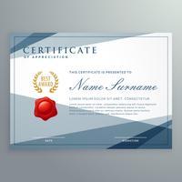 design de modelo de certificado com vetor de formas geométricas modernas