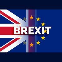 Britse en eu-vlag met brexit-tekst